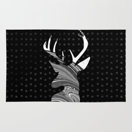 Black and White Deer Abstract Design Rug