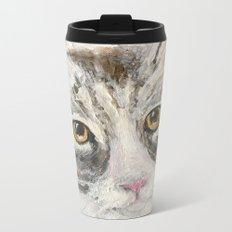 Grey Cat acrylic painting Metal Travel Mug