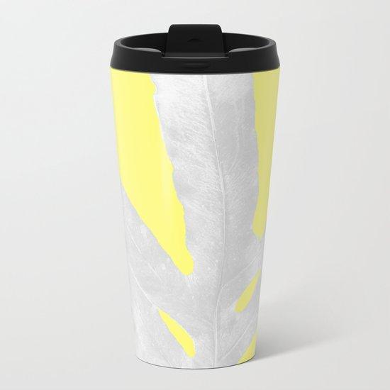Green Fern on Lemon Yellow Inverted Metal Travel Mug