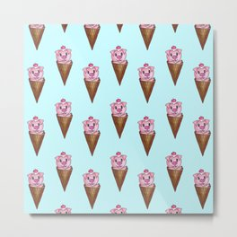 Cute Watercolor Piggy Ice Cream Pink Teal Pattern Metal Print