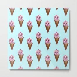 Cute Watercolor Piggy Ice Cream Pink Teal Pattern Metal Print