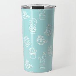 White and Turquoise blue cactus pot pattern Travel Mug