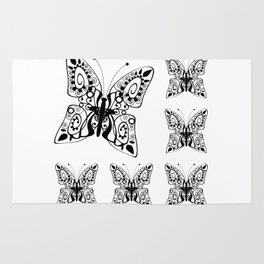 Butterfly black fishnet on a white background Rug