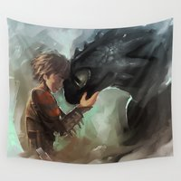 toothless Wall Tapestries featuring hiccup & toothless by AkiMao