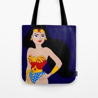 super hero Tote Bags featuring super hero by Paloma  Galzi