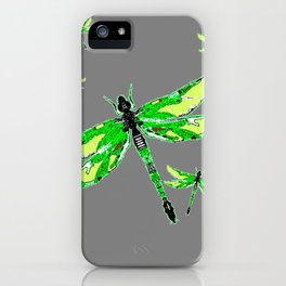 EMERALD GREEN  SWAMP DRAGONFLIES GREY ART iPhone Case