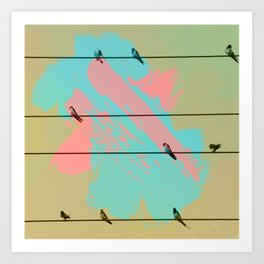 Birds of a Feather, Birds on Wires Art Print