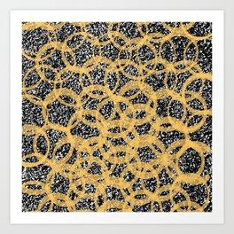 Abstract Beehive Yellow & Black Pattern Art Print