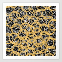 Abstract Beehive Yellow & Black Pattern Art Print