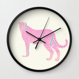 PINK STAR CHEETAH Wall Clock