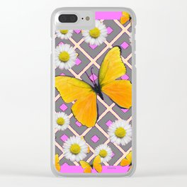 Yellow Butterfly on Lilac-pink Shasta Daisy Grey Pattern Clear iPhone Case