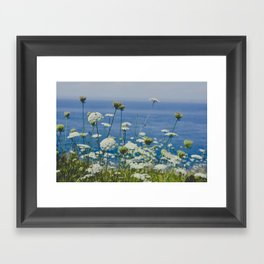Flowers by the Beautiful Blue Sea Framed Art Print