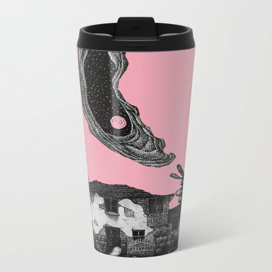 pink moon house Metal Travel Mug