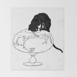 """Théophile Steinlen """"Cats: Pictures without Words (Cat and fishbowl)"""" (2) Throw Blanket"""
