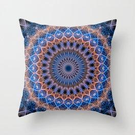 Pretty mandala in blue and orange Throw Pillow