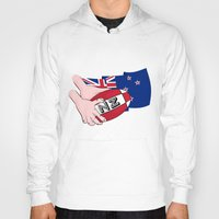 new zealand Hoodies featuring Rugby Ball New Zealand by mailboxdisco