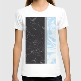 Light Blue Flower Meets Gray Black Marble #4 #decor #art #society6 T-shirt