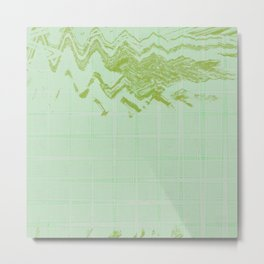 Green weird messy looking shapes acts like sky hovering on green wavy lines tiles background Metal Print