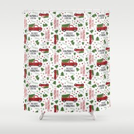 Merry Christmas Red Vintage Truck with Tree Shower Curtain