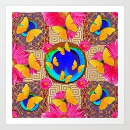 Fuchsia  Pink Yellow Butterflies Blue Patterns Art Print
