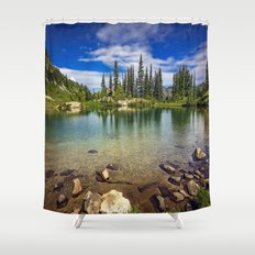Mountain Lake in the Mt Rainier National Park Shower Curtain