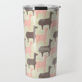 Brown and Pink Kids Llama Silhouette Seamless Travel Mug