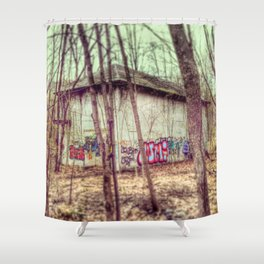graffiti in the woods Shower Curtain