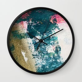Curious [1]: a vibrant, minimal abstract mixed-media piece in teal, pink, white and gold Wall Clock