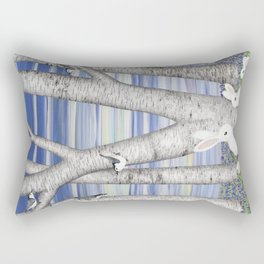 nuthatches, bunnies, and birches Rectangular Pillow