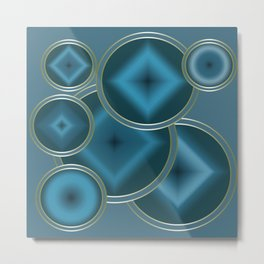 Blue Satin abstract pattern . Metal Print