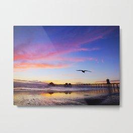 Suppertime Sunset * Huntington Beach Pier Metal Print