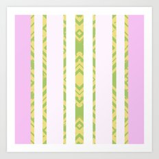 Olive Green and Pink Boho Art Print