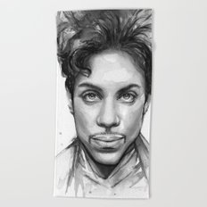 Prince Musician Portrait Watercolor Black and White Beach Towel