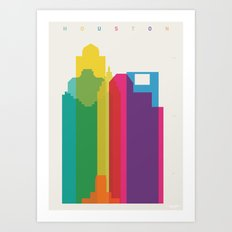 Shapes of Houston. Accurate to scale Art Print