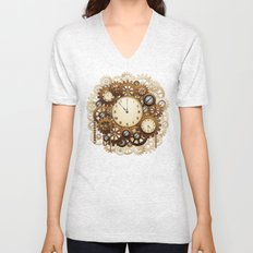 Steampunk Vintage Style Clocks and Gears Unisex V-Neck