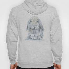 Mini Lop Gray Rabbit Watercolor Painting Hoody
