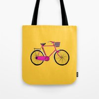 bicycle Tote Bags featuring Bicycle  by bluebutton studio