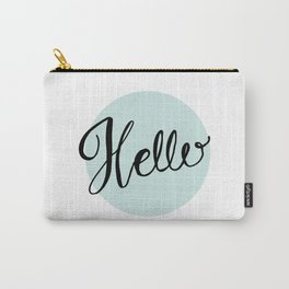 Hello - Blue Hand Lettering Carry-All Pouch
