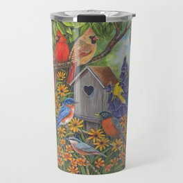 Birds and Birdhouse Travel Mug
