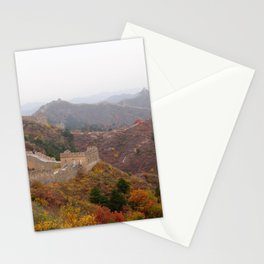Great wall of china with mountains and colorful wild plants arround Stationery Cards