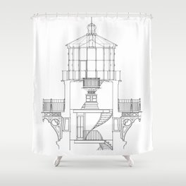 Cape Hatteras Lighthouse Lantern Room Blueprint Shower Curtain