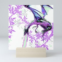 DRAGON AND PURPLE LEAVES Mini Art Print