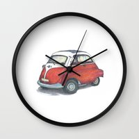 bmw Wall Clocks featuring BMW Isetta by Miyuki Sakurai
