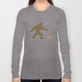 Bigfoot Walking A Chiweenie Long Sleeve T-shirt