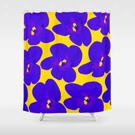 Blue Retro Flowers Yellow Background #society6 #decor #buyart Shower Curtain