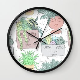 Planter Faces + Dots in Garden Green Wall Clock