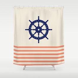 AFE Navy Helm Wheel Shower Curtain