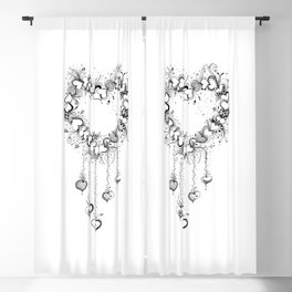 Doodle Heart Black and White Art Blackout Curtain
