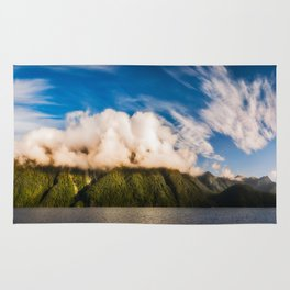 Amazing cloud formation at Lake Manapouri in New Zealand Rug