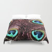 peacock feather Duvet Covers featuring Peacock Feather by Art by Jolene
